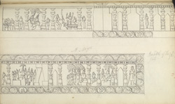 Narrative sculpture on the north side of the Amritesvara Temple at Amritpur, 1805. Beginning panel of the Mahabharata frieze